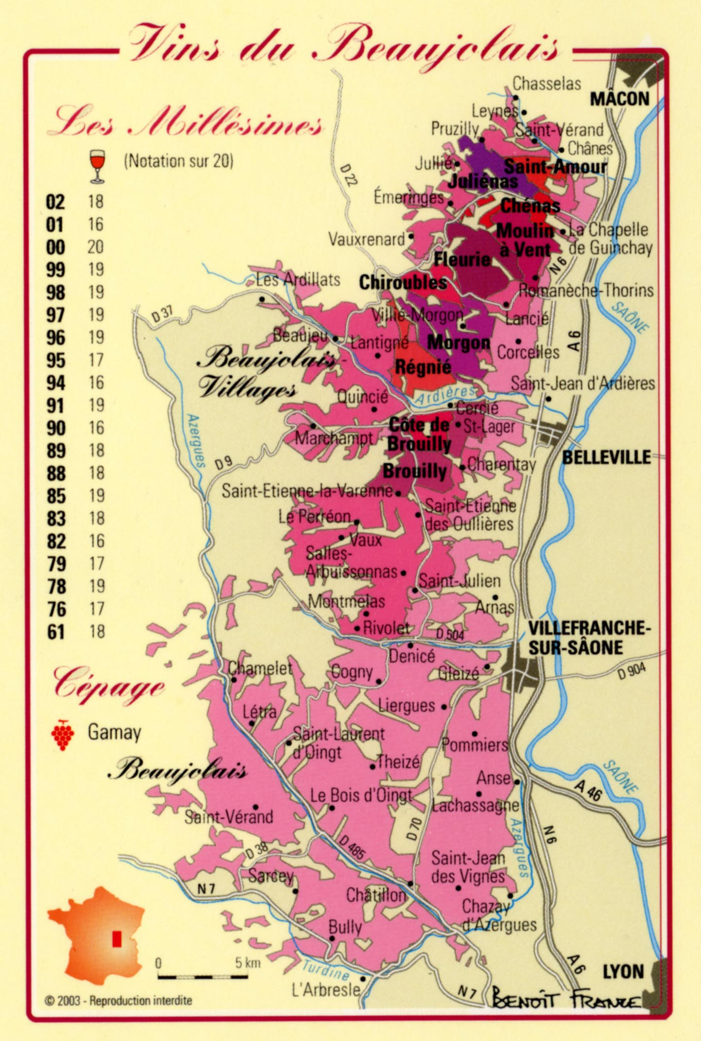 Une carte du Beaujolais