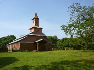 L'église du bagne dont l'intérieur a été intégralement peint par le célèbre faussaire Francis Lagrange.